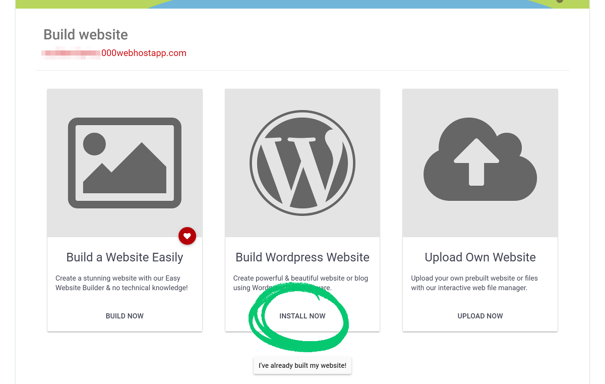 000webhost build wordpress