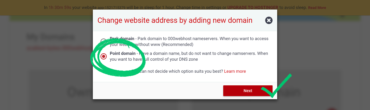 000webhost point domain
