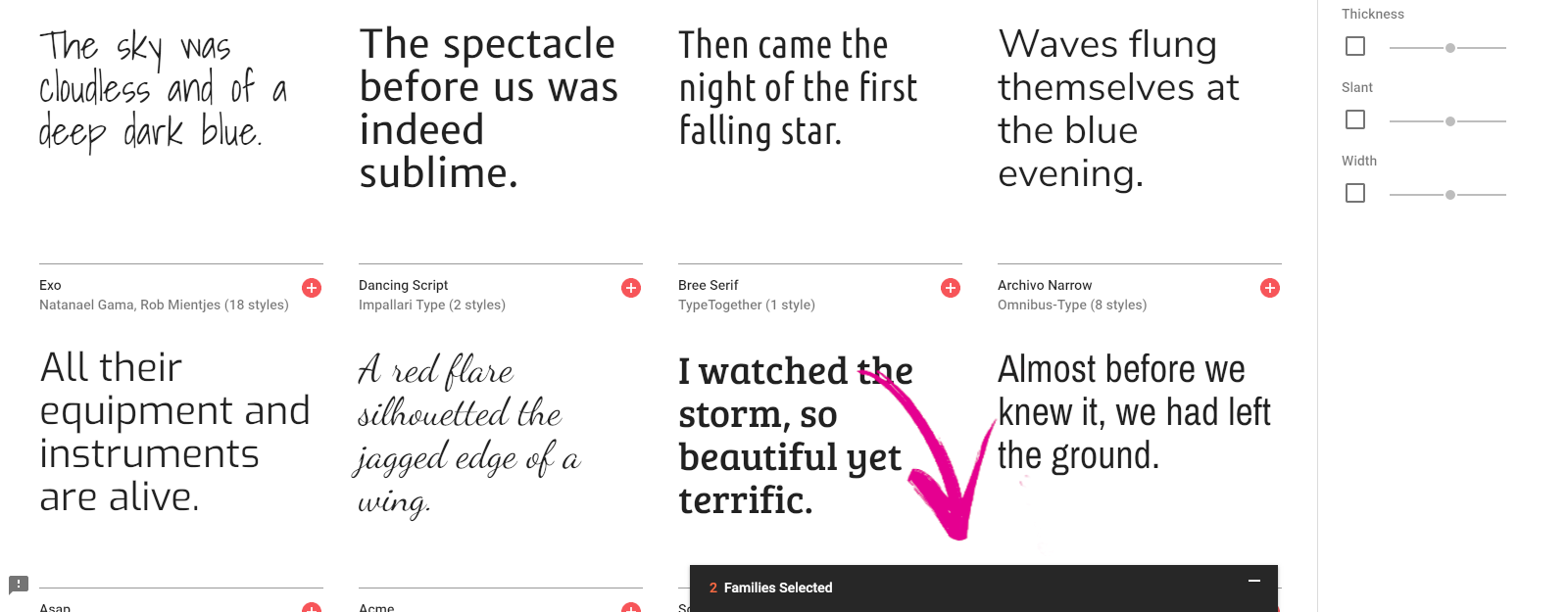 Google Fonts list